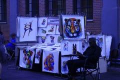 Street seller of paintings. New York, United States - 3 September 2016. Street seller of paintings Stock Photos