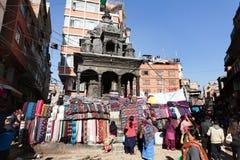 Street seller of pashmina, kashmir and yak wool tectile stock photo
