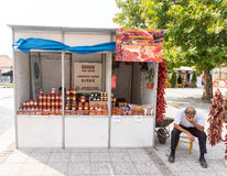 Street seller of products of paprika in the town of Leskovac in Serbia Stock Photography