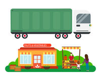 Street seller with stall fruits and truck cargo city transportation vector illustration. Royalty Free Stock Photography