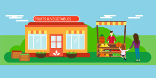 Street seller with stall fruits and vegetables vector illustration. Stock Photography