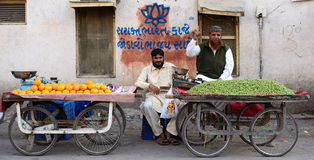 Street sellers of fruits in India Royalty Free Stock Image