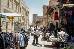 Street with sellers in the market. Shiraz; Iran - May 17; 2017: Street with sellers in the market royalty free stock photography