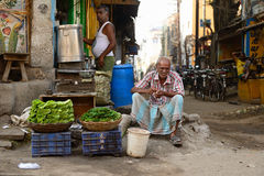 Street sellers of vegetables in India Stock Photography