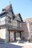 Street in Bourbon-Lancy, France. Historic buildings in Bourbon-Lancy Royalty Free Stock Images