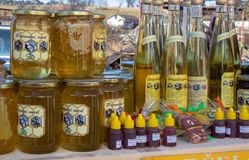 Street selling of homemade fruit and honey products stock photography