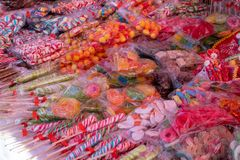 Street selling variety of sweets and candies stock photography