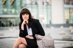 Street senior business woman portrait Stock Photography