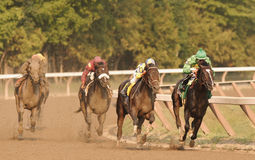 Street Sense Wins the Travers. Street Sense Gains on Grasshopper (in the lead) to win the 2007 Travers Stakes at Saratoga Race Course in Saratoga Springs, New stock photo