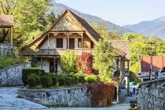 Street Sharambeyan in the town of Dilijan with old houses. Armenia stock photography
