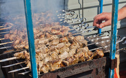 Street shashlik cooking Stock Photo