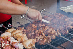 Street shashlik cooking Royalty Free Stock Photo