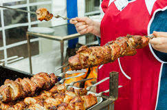Street shashlik cooking Stock Photography