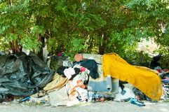 Street shelter of homeless refugees in the city park. Stock Images