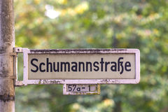 Street shield   named after musician Robert Schumann Royalty Free Stock Image
