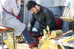 Street shoe cleaners in the city of Istanbul in Turkey Royalty Free Stock Image
