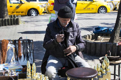 Street shoe cleaners in the city of Istanbul in Turkey Stock Photos