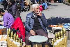Street shoe cleaners in the city of Istanbul in Turkey Royalty Free Stock Photo