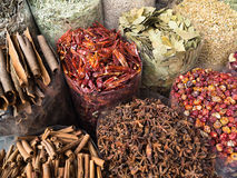 In the street shop. Dubai - dried herbs flowers spices in the street shop Royalty Free Stock Photo