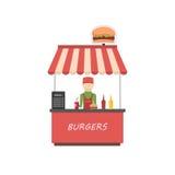 Street shop burgers . Fast food kiosk in flat style. Man sells hamburgers. Vector illustration vector illustration