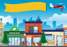 Street and shop in the city in flat vector style stock illustration