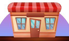 Street shop concept banner, cartoon style vector illustration