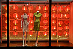 Street shop decorated in Chinese New Year Royalty Free Stock Image