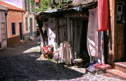 Street and shop in Greece. Traditional Greek street and shop on Lesbos Royalty Free Stock Image