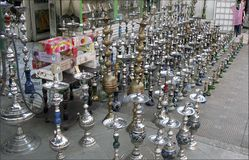 Street shop with hookahs Royalty Free Stock Photos