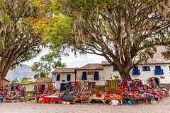 Street shop with ornaments, gift,ponchos, souvenir in Peru,  America Stock Photography