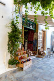 Street shop with ornaments, gift, souvenir in Small cretan village in Crete island, Greece. Stock Photos