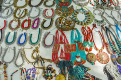 Street shop selling metal women ornaments or jewelries like necklace, chains, bangles, rings, bracelets. Chennai India Feb 25 2017 Stock Photo