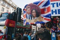 Street shop selling souvenir memorabilia royal wedding bus stati. LONDON, UNITED KINGDOM - MAY 18, 2018: Street shop selling souvenir memorabilia royal wedding stock images