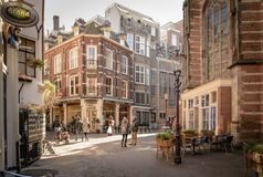 Street shops in Amsterdam Netherlands. March 2015. Landscape format royalty free stock image