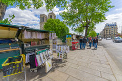 Street shops close to Notre Dame Cathedral, Paris Royalty Free Stock Images