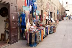 Street shops at the Essaouira fo Stock Photography