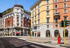 Street with shops in Milan. Milan, Italy - July 16, 2016: Street Meravigli in the historical centre of Milan. Italy Stock Image