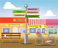 Street with shops vector illustration