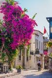 Street shot in Alacati, Turkey stock image