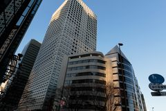 Shinjuku skyscrapers street view stock image