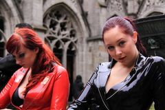 Street shot of two fetish girls Stock Image