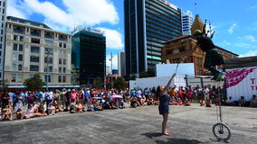 Street show in Queens Wharf Auckland Waterfront during Auckland Anniversary Day. It's a public holiday marks the arrival of William Hobson (first Governor) to stock video