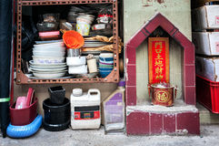 Street shrine on Tai Ping Shan Street, Hong Kong. Royalty Free Stock Photo