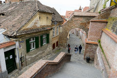 Street in Sibiu Romania Royalty Free Stock Photos