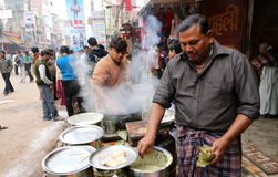 STREET SIDE BREAKFAST FOOD. In Varanasi at Dasaswamedh Ghat Road you can find different kind of street food in morning time and they are surely tasty and fresh Stock Photos