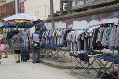 Street side clothing market Royalty Free Stock Image