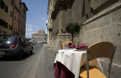 Street side restaurant rome it Royalty Free Stock Photos
