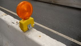 Street/sidewalk construction barriers with light Royalty Free Stock Photography