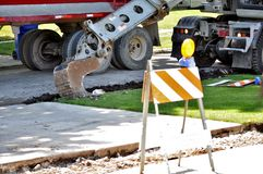 Street and sidewalk construction in Mount Prospect IL, USA. Royalty Free Stock Photos