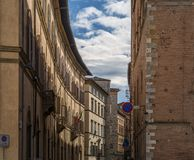 Street in siena itali. Toscana day time with clear blue sky Stock Image